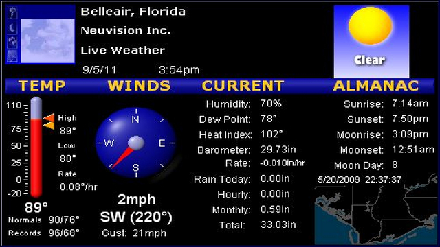 live weather radar from belleair florida lightning on