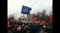 Russian protesters holding signs, gather in solidarity