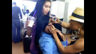 Keke Palmer chats with fans while getting her makeup done