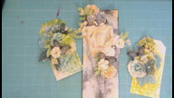 Mixed media artist tag, pretty floral